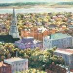 Watercolor painting deplicting an overview of Charleston, SC