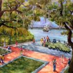 "Watercolor painting titled ""Irish Memorial"" deplicting guests visting the park here in Charleston, SC"