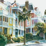 Watercolor painting of historic South Battery st Charleston, SC in the morning