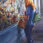 Watercolor painting of a women's reflection window shopping on King Street