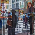watercolor painting looking through a window at the busy streets of SoHo